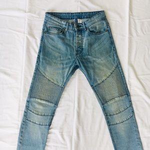 Men's Skinny Biker Jeans Stacked Light Blue